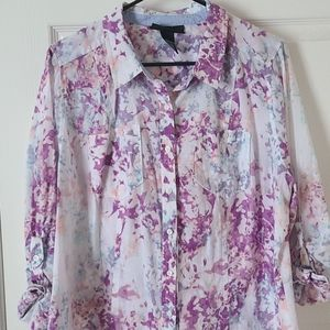 Lane Bryant Light weight multicolored button shirt
